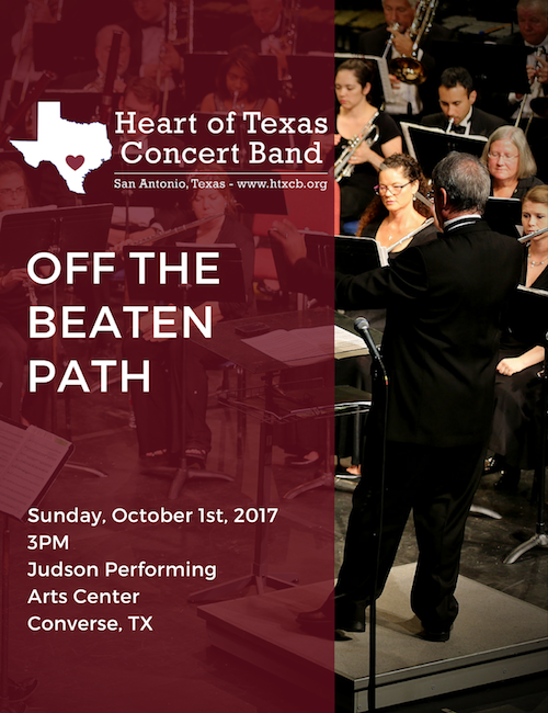 off the beaten path october 1 2017 the heart of texas concert band. Black Bedroom Furniture Sets. Home Design Ideas